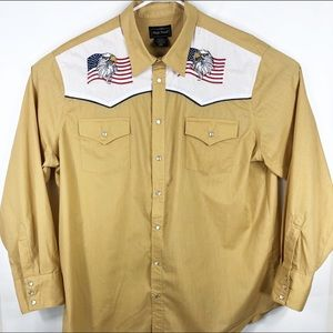 High noon western eagle pearl snap button down
